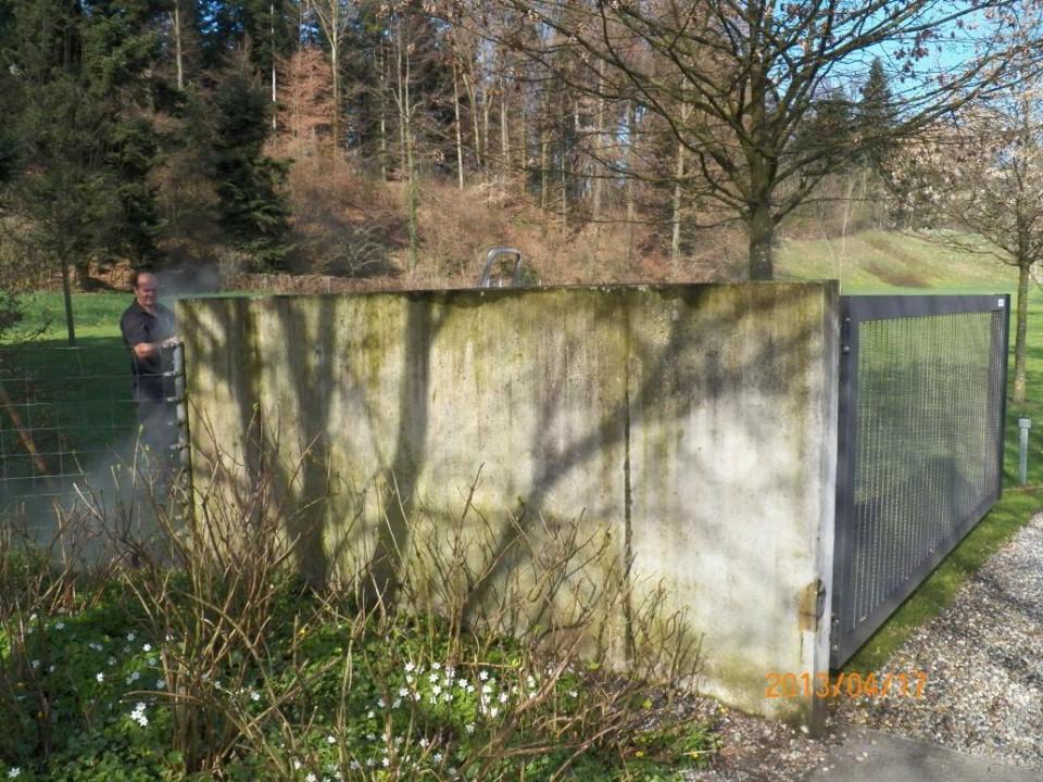 VORHER - Reinigung Mauer mit Algen - stc umwelt ag
